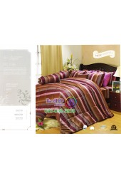 ชุดเครื่องนอนพิมพ์ลายทางโทนสีนำ้ตาลแดง Premier Satin ผ้าปูที่นอน ผ้านวม Cotton 100% พรีเมียร์ ซาติน PC036