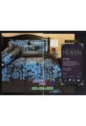 ชุดเครื่องนอนพิมพ์ลายดอกสีฟ้า พื้นดำ PC046 Premier Satin ผ้าปูที่นอน ผ้านวม Cotton 100%พรีเมียร์ ซาติน