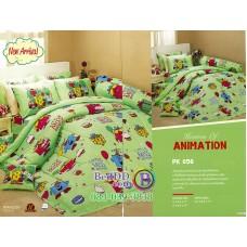 ชุดเครื่องนอนลาย Little Miss Sunshine พื้นสีเขียว PK056 Premier Satin ผ้าปูที่นอน ผ้านวมพรีเมียร์ ซาติน