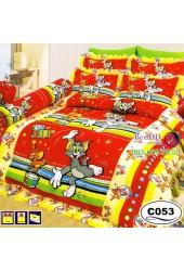 ชุดเครื่องนอนลายทอมกับเจอร์รี่ Tom and Jerry ลิขสิทธิ์แท้ Satin ผ้าปูที่นอน ผ้านวมซาติน C053