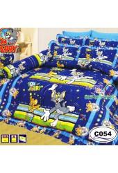 ชุดเครื่องนอนลายทอมกับเจอร์รี่ Tom and Jerry ลิขสิทธิ์แท้ Satin ผ้าปูที่นอน ผ้านวมซาติน C054