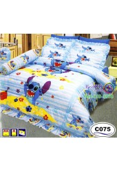 ชุดเครื่องนอนลายลีโล่ สติช Lilo & Stitch ลิขสิทธิ์แท้ Satin ผ้าปูที่นอน ผ้านวมซาติน C075