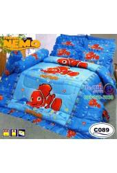 ชุดเครื่องนอนลายปลานีโม่ Nemo ลิขสิทธิ์แท้ Satin ผ้าปูที่นอน ผ้านวมซาติน C089