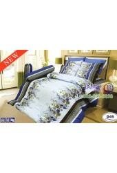 ชุดเครื่องนอนลายดอกพื้นสีฟ้า Satin ผ้าปูที่นอน ผ้านวมซาติน D45