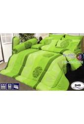 ชุดเครื่องนอนลายกราฟฟิคพื้นสีเขียว Satin ผ้าปูที่นอน ผ้านวมซาติน D49