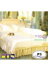 ชุดเครื่องนอนแพรมัน แพรไหม สีเหลืองครีม Satin ผ้าปูที่นอน ผ้านวมซาติน P3