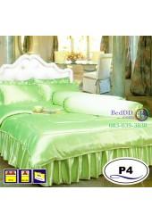 ชุดเครื่องนอนแพรมัน แพรไหม สีเขียว Satin ผ้าปูที่นอน ผ้านวมซาติน P4