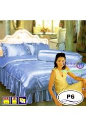 ชุดเครื่องนอนแพรมัน แพรไหม สีฟ้า Satin ผ้าปูที่นอน ผ้านวมซาติน P6