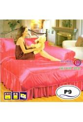 ชุดเครื่องนอนแพรมัน แพรไหม สีบานเย็น Satin ผ้าปูที่นอน ผ้านวมซาติน P9