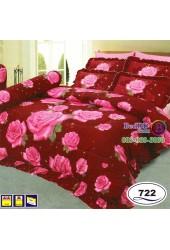 ชุดเครื่องนอนลายดอกกุหลายสีแดง Satin ผ้าปูที่นอน ผ้านวมซาติน SATIN722