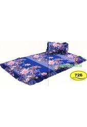 ที่นอนปิคนิคลายดอกไม้สีน้ำเงิน Satin ที่นอน 3 ตอนซาติน SATIN726