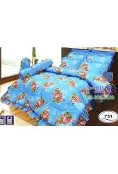 ชุดเครื่องนอนลายดอกพื้นสีฟ้า Satin ผ้าปูที่นอน ผ้านวมซาติน SATIN731