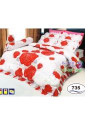 ชุดเครื่องนอนลายดอกกุหลาบแดงพื้นขาว Satin ผ้าปูที่นอน ผ้านวมซาติน SATIN735