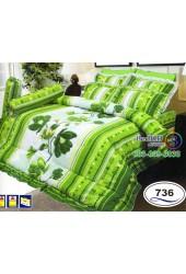 ชุดเครื่องนอนลายดอกพื้นเขียวขาว Satin ผ้าปูที่นอน ผ้านวมซาติน SATIN736