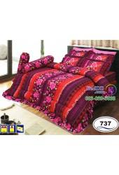 ชุดเครื่องนอนลายดอกพื้นม่วงแดง Satin ผ้าปูที่นอน ผ้านวมซาติน SATIN737