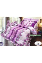 ชุดเครื่องนอนลายดอกพื้นม่วง Satin ผ้าปูที่นอน ผ้านวมซาติน SATIN741