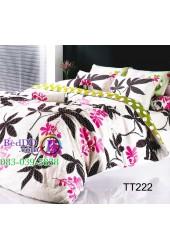 ชุดเครื่องนอนลายใบไม้สีดำชมพูพื้นสีขาว TOTO ผ้าปูที่นอน ผ้านวมโตโต้ TT222