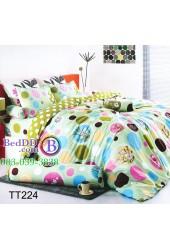 ชุดเครื่องนอนลายวงกลมดอกไม้ พื้นหลังสีเขียว TOTO ผ้าปูที่นอน ผ้านวมโตโต้ TT224