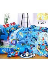 ชุดเครื่องนอนลายปลาการ์ตูนท้องทะเล สีน้ำเงิน TOTO ผ้าปูที่นอน ผ้านวมโตโต้ TT227