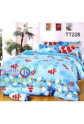 ชุดเครื่องนอนลายปลาการ์ตูนท้องทะเล สีฟ้า TOTO ผ้าปูที่นอน ผ้านวมโตโต้ TT228