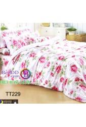 ชุดเครื่องนอนลายดอกกุหลาบสีชมพู พื้นขาว TOTO ผ้าปูที่นอน ผ้านวมโตโต้ TT229
