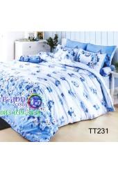 ชุดเครื่องนอนลายดอกไม้สีน้ำเงิน พื้นฟ้าขาว TOTO ผ้าปูที่นอน ผ้านวมโตโต้ TT231