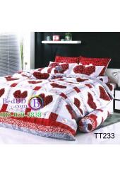 ชุดเครื่องนอนลายตารางดอกไม้รูปหัวใจสีแดง พื้นขาว TOTO ผ้าปูที่นอน ผ้านวมโตโต้ TT233