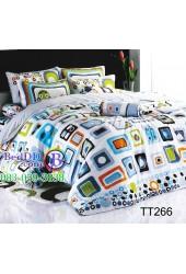 ชุดเครื่องนอนลายสี่เหลี่ยมกราฟฟิคคละสี พื้นสีขาว TOTO ผ้าปูที่นอน ผ้านวมโตโต้ TT266