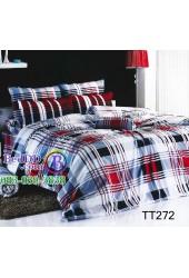 ชุดเครื่องนอนลายตารางดำแดง พื้นสีขาว TOTO ผ้าปูที่นอน ผ้านวมโตโต้ TT272