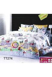 ชุดเครื่องนอนลายการ์ตูนบ้านเมืองต่างประเทศสีขาว TOTO ผ้าปูที่นอน ผ้านวมโตโต้ TT274