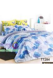 ชุดเครื่องนอนลายใบโคลเวอร์สีฟ้า TOTO ผ้าปูที่นอน ผ้านวมโตโต้ TT284