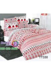 ชุดเครื่องนอนลายครอสติช แดงดำ TOTO ผ้าปูที่นอน ผ้านวมโตโต้ TT330