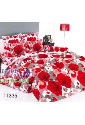 ชุดเครื่องนอนลายกุหลาบแดงดอกใหญ่ พื้นเทา TOTO ผ้าปูที่นอน ผ้านวมโตโต้ TT335