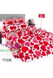 ชุดเครื่องนอนลายหัวใจสีแดงชมพู พื้นขาว TOTO ผ้าปูที่นอน ผ้านวมโตโต้ TT336