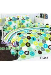 ชุดเครื่องนอนลายวงกลมคละแบบ คละสี พื้นสีเขียว TOTO ผ้าปูที่นอน ผ้านวมโตโต้ TT345