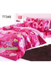 ชุดเครื่องนอนลายหัวใจสีชมพูในตาราง โทนสีช็อคกิ้งพิ้ง shocking pink TOTO ผ้าปูที่นอน ผ้านวมโตโต้ TT349