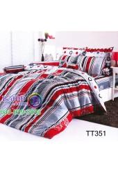 ชุดเครื่องนอนลายทางสีแดง ดำ เทา TOTO ผ้าปูที่นอน ผ้านวมโตโต้ TT351