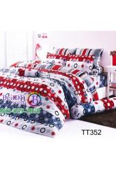 ชุดเครื่องนอนลายวงกลมสีแดง ดำ เทา TOTO ผ้าปูที่นอน ผ้านวมโตโต้ TT352