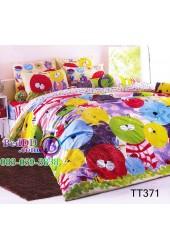 ชุดเครื่องนอนลายการ์ตูนแมวหน้ากลมหลากสี แดง เขียว เหลือง ฟ้า TOTO ผ้าปูที่นอน ผ้านวมโตโต้ TT371