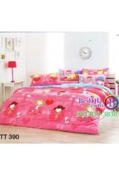 ชุดเครื่องนอนลายการ์ตูนเด็กผู้หญิงน่ารักสีชมพูสด TOTO ผ้าปูที่นอน ผ้านวมโตโต้ TT390