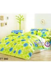 ชุดเครื่องนอนลายดอกกุหลาบสีฟ้า น้ำเงิน พื้นหลังสีเขียว TOTO ผ้าปูที่นอน ผ้านวมโตโต้ TT392