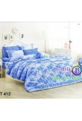 ชุดเครื่องนอนลายดอกกุหลาบสีฟ้า โทนสีฟ้า TOTO ผ้าปูที่นอน ผ้านวมโตโต้ TT412