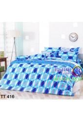 ชุดเครื่องนอนลายห่วงวงกลม สีน้ำเงิน ฟ้า สีสด TOTO ผ้าปูที่นอน ผ้านวมโตโต้ TT416