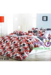 ชุดเครื่องนอนลายหัวใจสีขาว แดง ตารางไพ่ดอกเล็ก TOTO ผ้าปูที่นอน ผ้านวมโตโต้ TT418
