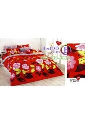 ชุดเครื่องนอนลายดอกไม้ พื้นสีแดง TOTO ผ้าปูที่นอน ผ้านวมโตโต้ TT434