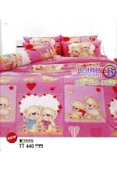 ชุดเครื่องนอนลายการ์ตูนหมีน่ารัก พื้นสีชมพู TOTO ผ้าปูที่นอน ผ้านวมโตโต้ TT440