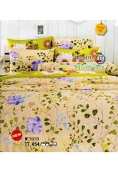 ชุดเครื่องนอนชุดเครื่องนอนลายเถาใบไม้ ดอกสีม่วง พื้นน้ำตาลอ่อน TOTO ผ้าปูที่นอน ผ้านวมโตโต้ TT454