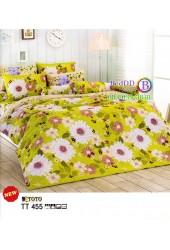 ชุดเครื่องนอนชุดเครื่องนอนลายเถาใบไม้ ดอกไม้สีขาว ลายใหญ่ พื้นสีเขียว TOTO ผ้าปูที่นอน ผ้านวมโตโต้ TT455