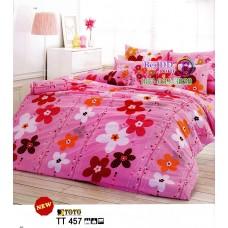 ชุดเครื่องนอนชุดเครื่องนอนลายดอกใหญ่สีชมพู พื้นสีชมพู TOTO ผ้าปูที่นอน ผ้านวมโตโต้ TT457
