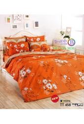 ชุดเครื่องนอนชุดเครื่องนอนลายดอกสีขาว พื้นสีส้ม TOTO ผ้าปูที่นอน ผ้านวมโตโต้ TT458